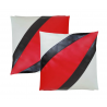 2 Black with Red  Faux/ Imitative Leather Cushion Covers Zipped
