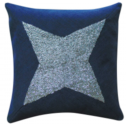 1 Denim Cushion Covers Zipped with White Stones Stitch on fabric