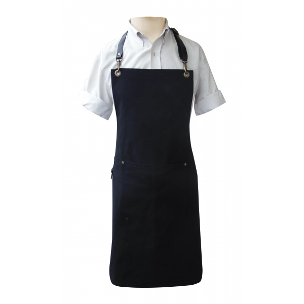 Canvas Fabric Bib Style Apron with Leather Adjustable Neck and Waist Strap
