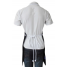 Black Canvas Fabric Bib style Apron with Adjustable White Rope Neck Strap with Knot and back Rope ties