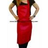 Red Faux Imitative Leather Apron Bib Style with Pockets & Pen Pocket