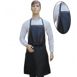 Black Leather Apron With Metal Stud Work
