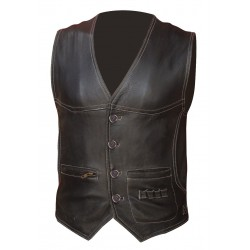 Barman-Waiter's Leather Vest With Colour Stitching